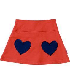 Baba Babywear mooi oranje rokje met zakjes als blauwe hartjes. baba-babywear.nl.emilea.be