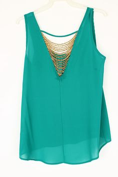 Gold Pebble Chiffon Top in Teal Jade on Emma Stine Limited