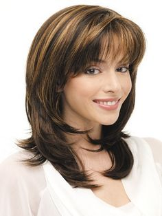 Shop our best value Layered Hair Highlights on AliExpress. Check out more Layered Hair Highlights items in Beauty & Health, Hair Extensions & Wigs! And don't miss out on limited deals on Layered Hair Highlights! Medium Length Hair With Bangs, Layered Haircuts With Bangs, Mid Length Hair, Medium Hair Cuts, Hairstyles With Bangs, Layered Hairstyles, Full Bangs, Trendy Hairstyles, Hairstyle Ideas
