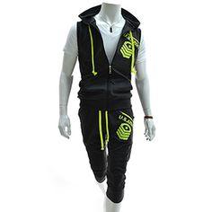 (RBV7S01-CHARCOAL) Slim Zipper Hood Vest Training Jacket 3/4 Baggy Pants Set