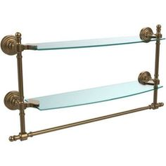 Retro Wave Collection 18 inch 2-Tiered Glass Shelf with Integrated Towel Bar (Build to Order)