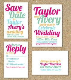 Bright and Bold Summer Printable Wedding Invitation Suite