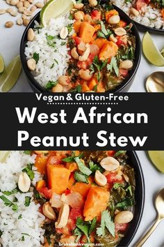 With fall right around the corner, it's a great time to make a big batch of this West African peanut stew. It's super hearty, creamy, and a little spicy to keep you warm as the days begin cooling off! #westafricanstew #peanutstew #veganpeanutstew Vegan Dinner Recipes, Healthy Soup Recipes, Chili Recipes, Vegan Dinners, Lunch Recipes, Vegetarian Recipes, Easy Dinners, Free Recipes, African Stew