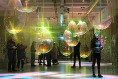 Glow Festival, Eindhoven, LED installations, winter wonderland, Philips, recycled PET bottles, LED lights, Dommel River, kids art, plastic dandelions, mapping projections, mapping projections,