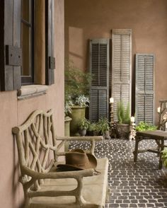 Traditional Porch Patio Design, Pictures, Remodel, Decor and Ideas - page 4 Porches, Outdoor Rooms, Outdoor Living, Outdoor Decor, Lanai Decorating, Decorating Ideas, Old Shutters, Repurposed Shutters, Vintage Shutters