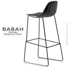Tabouret de bar design BABAH 80, pieds acier luge peint noir, assise coque plastique noir, dossier fantaisie coquillage