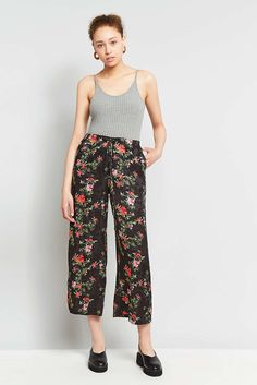 Light Before Dark Floral Satin Culottes - Urban Outfitters