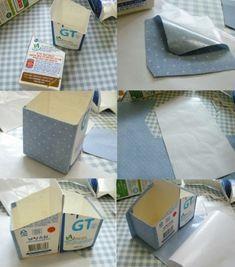 Porta lápis com caixas de leite - passo a passo