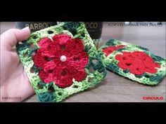 FLOR RASTEIRINHA PARA TAPETES / DIY / 0,12 x 0,12 cm / KARIN COSTA - YouTube Crochet Blocks, Granny Square Crochet Pattern, Crochet Diagram, Crochet Afghans, Crochet Squares, Crochet Stitches, Crochet Flower Tutorial, Crochet Flower Patterns, Crochet Designs