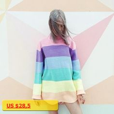 Women Pullover Urtleneck Rainbow Sweater Maccaron Color Stripes Loose Sweater Tumblr Female 2017 Autumn New Fashion