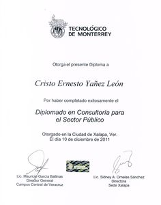 DCPSP Diploma para Cristo Leon por el Diplomado en Consultoria para el Sectro Publico