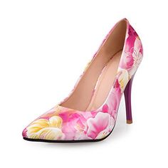 VogueZone009 Womans Closed Toe Pointed Toe High Heel Assorted Colors Pumps with Stochastic Pattern, Rosered, 7 B(M) US ** Find out more about the great product at the image link.