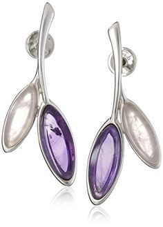 Amethyst and Rose Quartz Sterling Silver Rhodium Plated Drop Earrings. Imported.