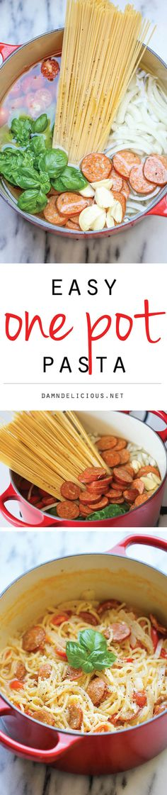One Pot Pasta - The easiest, most amazing pasta you will ever make. Even the pasta gets cooked right in the pot. How easy is that?!
