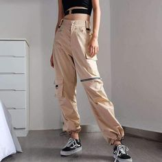 High Waist Long Pants Casual Loose Solid Cool Streetwear Cargo Pants Spring Casual Women Pants - Women Dresses for Every Age! Cargo Pants Outfit, Cargo Pants Women, Overalls Women, Pants For Women, Clothes For Women, Casual Pants, Khaki Cargo Pants, Parachute Pants Outfit, Harem Pants