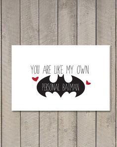 Printable Valentine's Day Batman Card // I by LittleTinspirations, $4.00