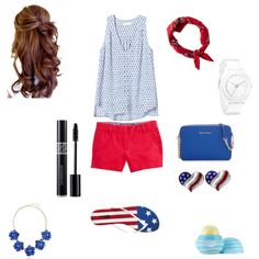 Fourth of July by nicoleb123 on Polyvore featuring polyvore, fashion, style, Rebecca Taylor, Charlotte Russe, MICHAEL Michael Kors, Nixon, BERRICLE, American Eagle Outfitters, Eos and Vineyard Vines