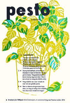 Pesto di Basilico | wisselrecept | in samenwerking met Lotje Meijknecht | 27.5 x 18.5 cm, boekdruk met linosnede, | oplage 35 | 2016 | €12