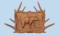 Deer Antler Wall Decor  Solid Wood Carving  by TheWoodGrainGallery