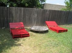 Old wood pallets into bright lounge chairs (I would put cushions on them!)