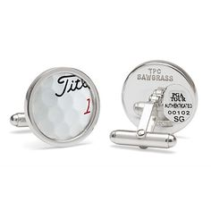 TPC SAWGRASS GOLF BALL CUFFLINKS. Set in sterling silver, these chic cufflinks are crafted from PGA TOUR-licensed golf balls that were plucked from the famed 17th Island Green water at TPC Sawgrass, Ponte Vedra Florida.  Officially licensed by PGA TOUR. Made in Mexico.
