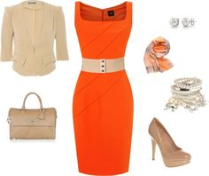 """Little Orange Dress"" by mrscosentino on Polyvore"