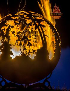 """""""Enchanted Woods"""" Fire Pit Sphere by artist Melissa Crisp of The Fire Pit Gallery"""