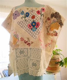 FRENCH LINENS HUIPIL Wearable Art of Altered Vintage Embroidery Textile Cloth Applique Doilies Flowers