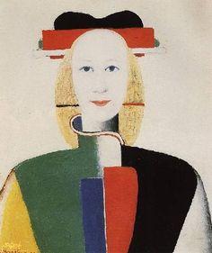 """малевич картины - """"Девушка с гребнем в волосах""""1913г. предметная живопись, супрематизм в контуре человеческой фигуры."""