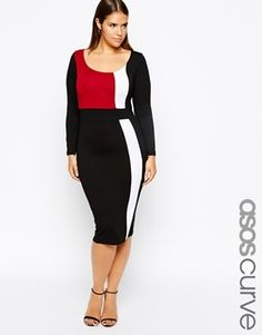 ASOS CURVE Exclusive Body-Conscious Dress With Panels With Long Sleeve - Multi