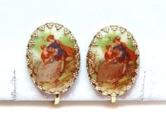 Vintage Cameo Earrings Transfer Image Courting Couple Oval Gold Metal Clip Ons Signed Fragonard West Germany