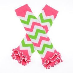 Kids Bright Pink, Lime, and White Ruffle Leg Warmers