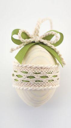 Olive Green Easter Egg, Decorative Wooden Easter Egg, White Cottage Chic Decor, Pastel Color Home Decor
