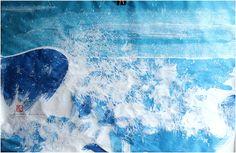 Bauer-Maison, Encre sur papier de riz Amethyst, Waves, Ink, Texture, Crystals, Artwork, Blue, Rice Paper, Home