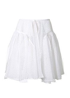 Azzedine Alaïa white cotton lace pleated skirt