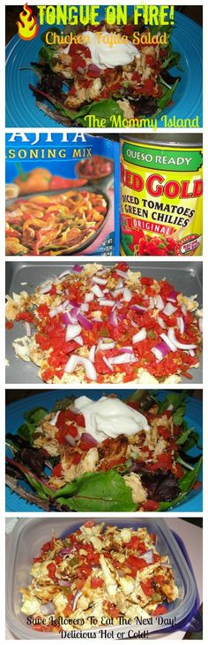 The Mommy Island: Tongue On Fire!~Chicken Fajita Salad #recipe #Chicken