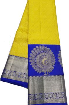 Yellow Handloom Kanjeevaram Pure Silk  Saree