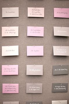 pink and gray escort cards