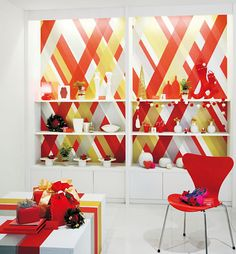 Instead of wallpaper, add a graphic punch to shelves with wall tape from Sincol x MT.