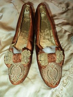 Antique French Silk Lace Madame Shoes Marie Antionette Regal Bows Late 1800s 19th C Rare. $325.00, via Etsy.