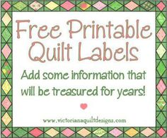 Free Printable Quilt Labels
