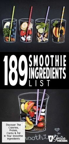 This incredibly useful smoothie ingredient list is the ultimate resource for helping you plan out the calories, protein, carbs, and fat in your smoothies. This will help you reach your health goals much more quickly and stay in control of your own diet. Smoothie Prep, Green Detox Smoothie, Raspberry Smoothie, Green Smoothie Recipes, Fruit Smoothies, Fruit Recipes, Healthy Smoothies, Healthy Drinks, Smoothie Cleanse