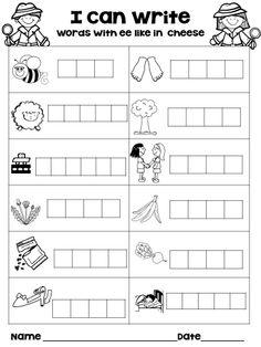 Phonics Worksheets For Kids Word Study, Word Work, Digraphs Worksheets, Vowel Digraphs, Free Worksheets, Ee Words, Reading Comprehension Worksheets, Phonics Reading, Teaching Reading