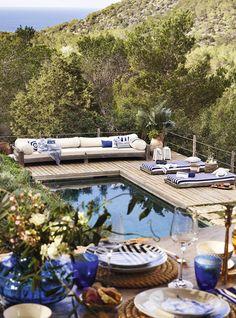 rechteck poolgestaltung im garten hohe pflanzenbeete | pool und, Hause und Garten