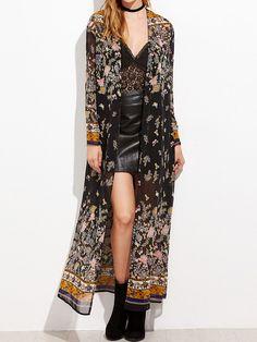 Kimono Floral, Chiffon Kimono, Floral Sleeve, Kimono Top, Mode Outfits, Fashion Outfits, Womens Fashion, Casual Outfits, Fashion Skirts