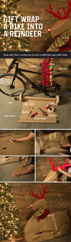 It's exciting to surprise loved ones with new gear for the holidays. The challenge? Wrapping it to keep the surprise. Here's a holiday hack to gift wrap a bike into a reindeer.