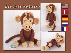 This is a DOWNLOADABLE crochet monkey PATTERN and NOT the monkey toy.  Pattern is written in ENGLISH (in US terms), DANISH, DUTCH, GERMAN and FRENCH languages. This amigurumi monkey toy is easy to make, if you know all the basic crochet terms: - crocheting in rounds - chain, slip, single crochet stitch - increasing and decreasing  Tutorial comes with lots of photos illustrating the process to help you.  Pattern can be made with sport or worsted weight yarn. The finished monkey size is about…
