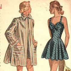 Simplicity 2441 1940s Misses One Piece Swimsuit and Beach Coat Cover Up womens vintage Sewing Pattern Size 12 B 30 | PatternGate - Craft Supplies on ArtFire