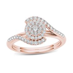 3/8 CT. T.W. Composite Diamond Frame Bypass Engagement Ring in 14K Rose Gold