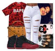 """""""11:28 pm """" by kodakdej ❤ liked on Polyvore featuring A BATHING APE, MCM, Casetify and NIKE"""